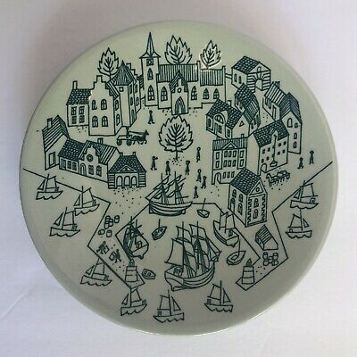 Nymolle Art Faience Hoyrup Trinket Dish Made in Denmark Sail Ships Harbor Houses