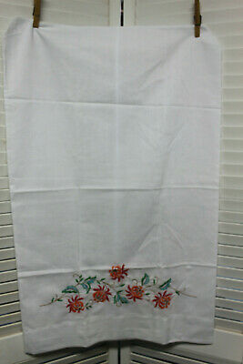 Vtg PAIR EMBROIDERED MUSLIN PILLOWCASES,  ORANGE, Red, Blue GREEN FLORAL