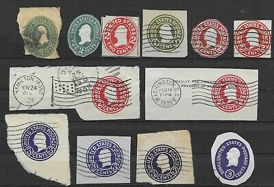 US Postal Cuts Lot of 12 Mixed Used Embossed Cover Stamps 1886-1950