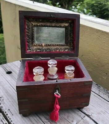 Old Vintage Wooden Anglo-Indian Brass Inlaid Box With 3 Glass Perfume Bottles