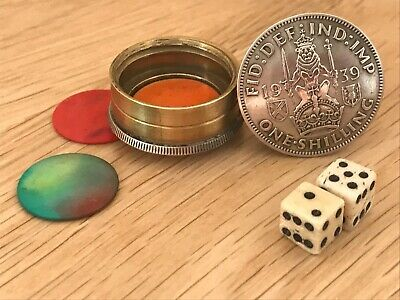 Trench Art WWII 1939 Silver Shilling (Battle of Britton) Dice Game Hazard/Craps