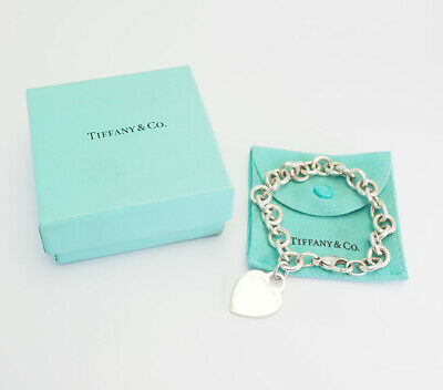 Vintage sterling silver heavy chain heart tag bracelet by Tiffany & Co.