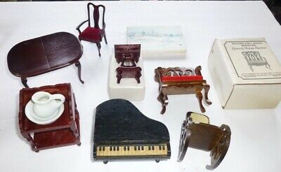 Vintage Miniature Doll House Furniture-Table-Piano-Rocking Chair-Side Table-D17