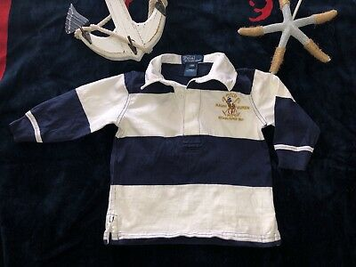 Ralph Lauren Boys Long Sleeve Rugby Striped Polo Shirt Top 12 Mos SELLING TONS!!