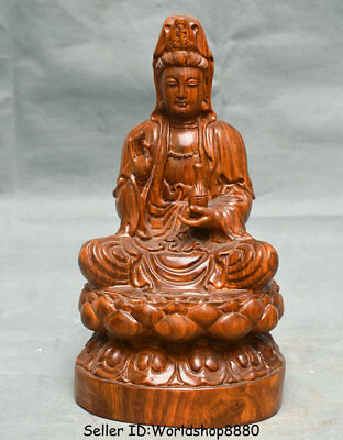 "15.2"" Old China Huanghuali Wood Carved Seat Kwan-Yin Guan Yin Bottle Vase Statue"