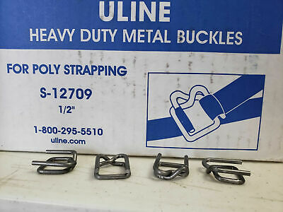 """Uline Heavy Duty Metal Buckles for Poly Strapping 1/2"""" - Lot of 50 pcs"""