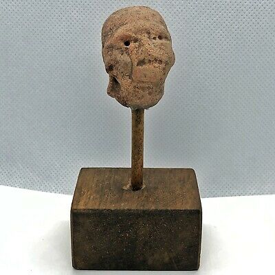 300-800 AD Pre Columbian Face Clay Pottery Head — Mexico Guerrero Region — Rare