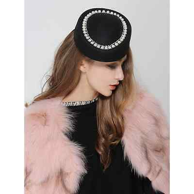 Black Ladies Felt Wool Fascinator Cocktail Race Beret pillbox Fesitval Hat