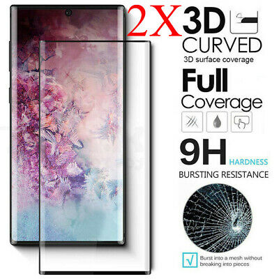 For Samsung Galaxy Note 10 Plus FULL COVER 3D Tempered Glass Screen Protector X2
