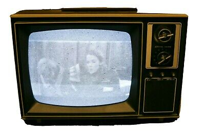 "Vtg 1976 JC Penney 11"" CRT Black & White TV -Woodgrain, Knobs, Dials"