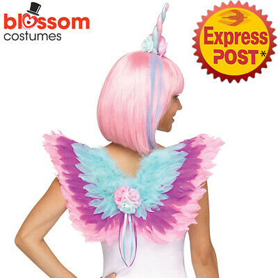 AC457 Deluxe Unicorn Feather Adult Costume Wings Heaband Horn Cosplay Accessory