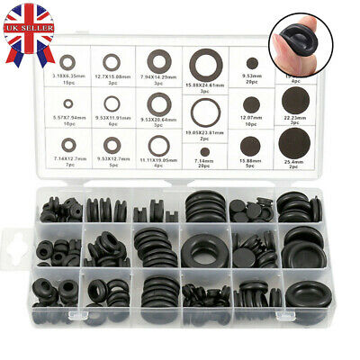 125Pcs Assorted Wiring And Blanking Grommets Set Rubber Gromets Blind Cable Bung
