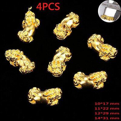 4Pcs Gold Brave Troops PiXiu Beads For Jewelry Bracelet Accessories DIY Making
