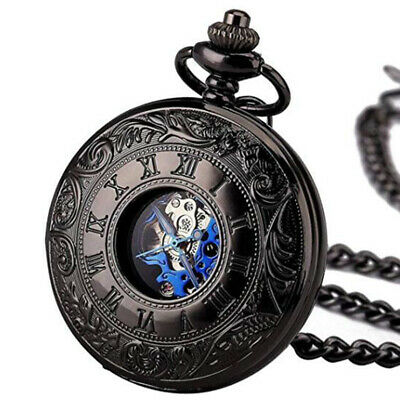 Mens Mechanical Pocket Watch Double Hunter Antique Style Black Blue with Chain
