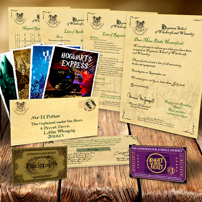 Harry Potter Hogwarts Acceptance Letter Package Tickets Spells & Much More D