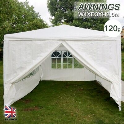 4 x 3m Garden Wedding Gazebo Marquee Heavy Duty Party Tent Outdoor Awning