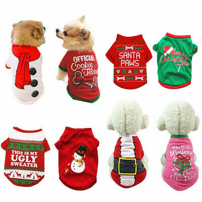 Christmas Pet Dog T-Shirt Clothes For Puppy Cat Santa Pullover Sweater Clothes