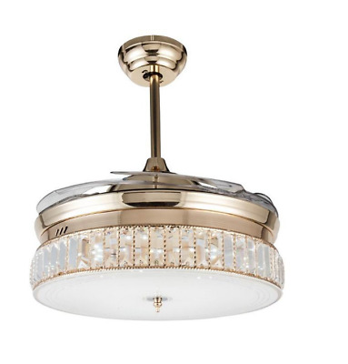 """36/"""" Crystal Silver Invisible Ceiling Fan Light Chandelier Home Decor with Remote"""