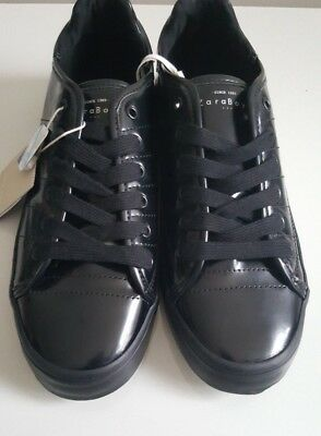 BRAND NEW WITH TAGS Trendy boys shoes trainer Uk size 5-6  black plimsolls zara