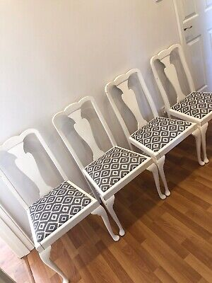 Four Shabby Chic Dining Chairs - GREY WHITE