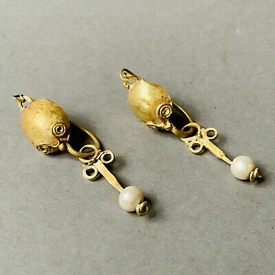 Pair Of Matching Roman Gold Earrings With Pearl Beads, Elegant Jewellery