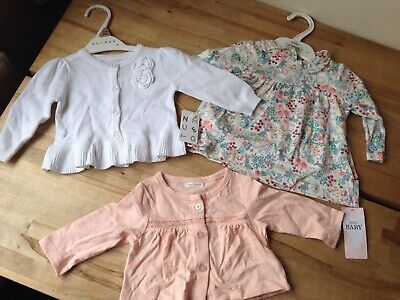 M&S Marks and Spencers Nutmeg Next Baby Girl tops x 3 0-3 months NEW x 2 USED x1