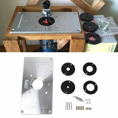 Aluminum Router Table Insert Plate w/ 4 Rings For Woodworking Benches Router