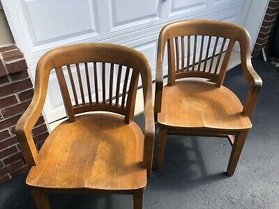 Pair of Vintage Oak Banker Library Chairs Mission Antique Wood