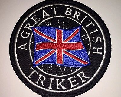 A Great British Triker Sew on Patch TriKe Badge  Biker , Chapter ,Harley
