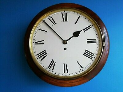 #028 ANTIQUE EARLY 1900s MAHOGANY STATION/OFFICE CLOCK WITH A FUSEE GUT WIRE MOV