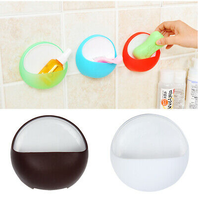 Round Suction Cup Sink Hanging Shelf Sponge Soap Dish Storage Holder Container