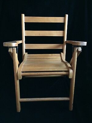 Vintage Child's Wood Slat Folding Chair with Armrests