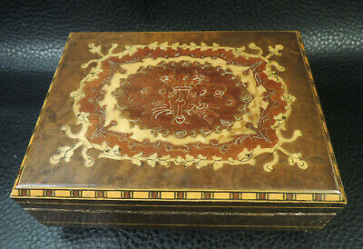 Vtg.Reuge Swiss Musical Jewelry Box- Wood Inlay Marquetry