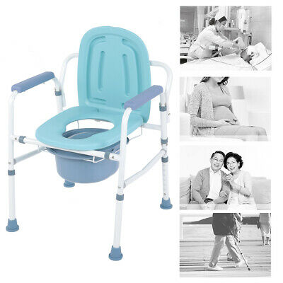 Steel Commode Chair Toliet Seat with Backrest Portable Toilet Mobility Aid