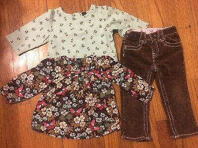 Baby gap Girl 3t Light Soft Corduroy Mint Flowers Long Sleeves Fall