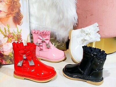 Toddler Children Baby Girl Chelsea Shoes Bow Diamante  Kids  Ankle Boots Size