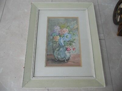 "Framed Original Vintage Floral Watercolour ""The Silver Jug"" Signed Mary Clarkson"