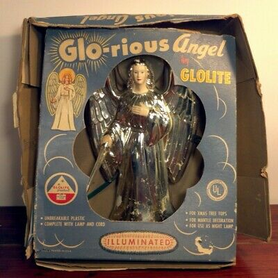 Vintage 1950s Glo-rious Angel by GLOLITE with Original Box-Illuminated - Works!