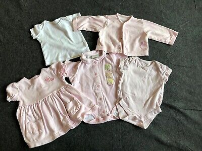 5 piece M&S Mothercare pink baby girls bundle age 0-3 months dress cardigan