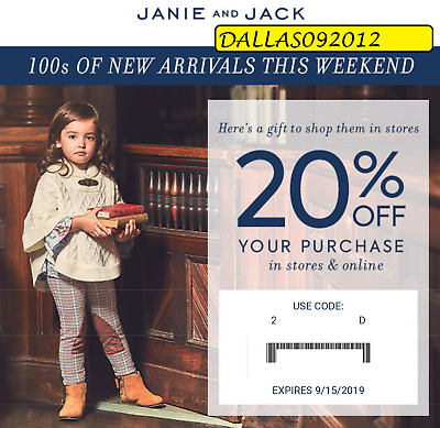 JANIE & JACK PROMO CODE CPN  - Enjoy 20% off Entire Purchase!! - Exp 9/15/19