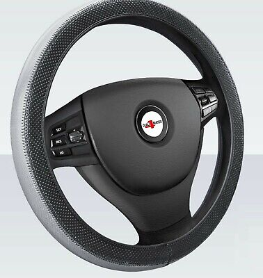 Car Steering Wheel Cover Glove Universal, Soft Grip Grey / Black Leather Effect