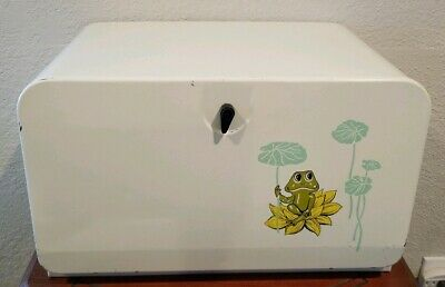 Sears Neil The Frog BREAD BOX Vintage Mid Century white Metal 70s vintage kitch