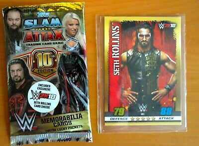 Topps WWE Slam Attax 10th Edition Seth Rollins W2K18 EXCLUSIVE RARE CARD