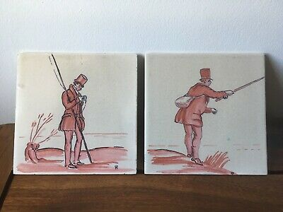 2 Vintage Pilkington Ceramic Tiles Pink Gentlemen Fishing Anglers Fishers Unique