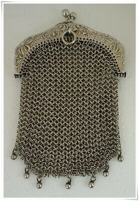 Antique French Victorian Sterling Silver Mesh Coin Purse for Chatelaine