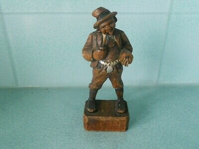 Vintage Hand Carved German / Austrian Black Forest Figurine Of A Man With A Pipe