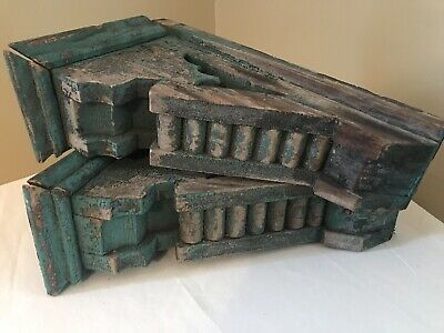 Antique Large Wood Architectural Salvage Chippy Paint Corbels Turquoise Pair