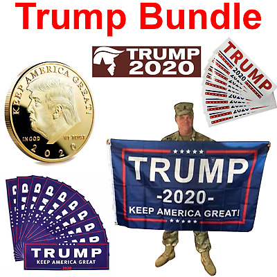 Trump 2020 Bundle - Gold Coin, 3x5 Flag, 20x Stickers Keep America Great USA