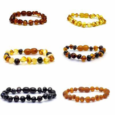 Genuine Baltic Amber Bracelet/Anklet Knotted Beads  sizes 14-25 cm, 8 colours