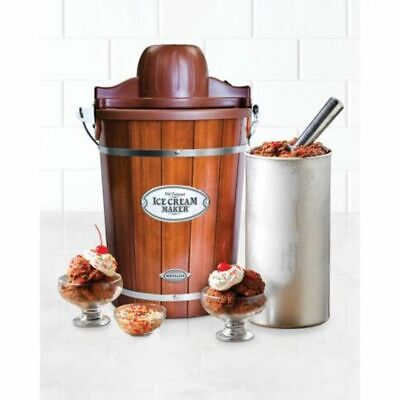 Homemade Ice Cream Desert Maker Electric 6-Quart Wood Bucket Nostalgia